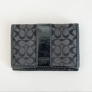 Coach Signature Black Bifold Card Wallet